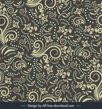 damask pattern floral sketch repeating messy design