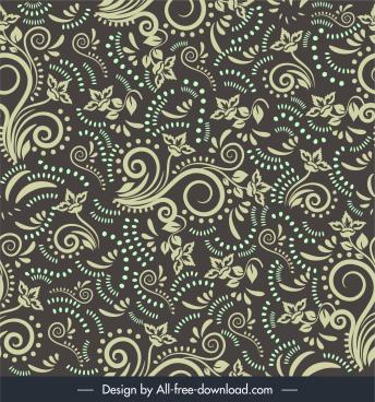 damask pattern floral sketch repeating messy design
