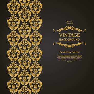 damask seamless border vintage background vector