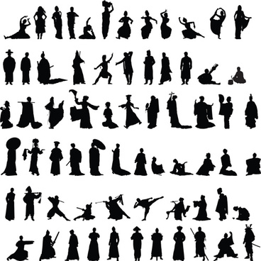 dance and martial arts silhouettes vector graphics