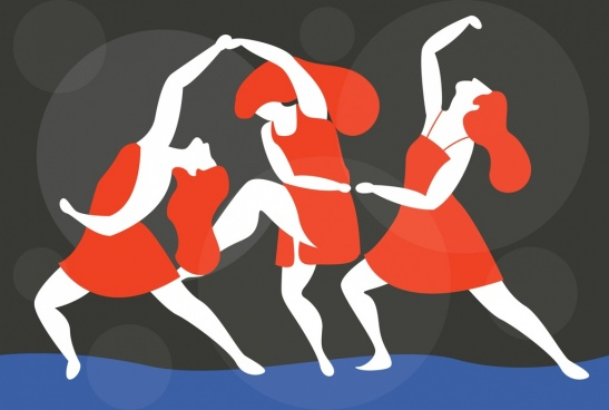 dance background female dancers icons