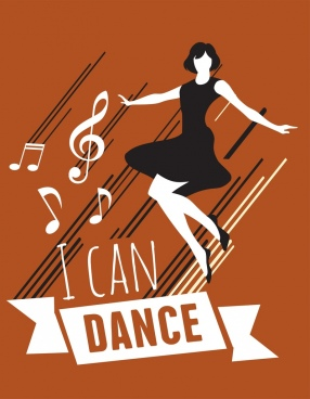 dance background woman notes icons classical design