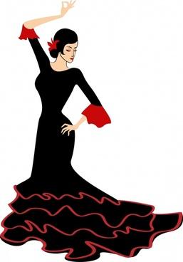 female dancer icon elegant cartoon sketch