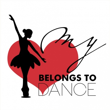 dance hobby poster female dancer silhouette heart icon