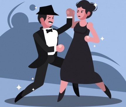 dance painting elegant couple icon cartoon design