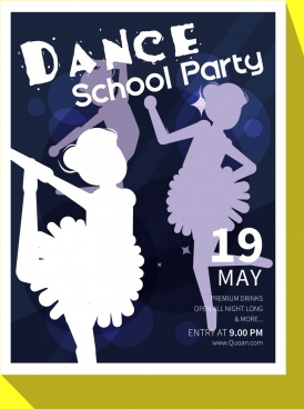 dance party banner baelerina icons silhouette bokeh design