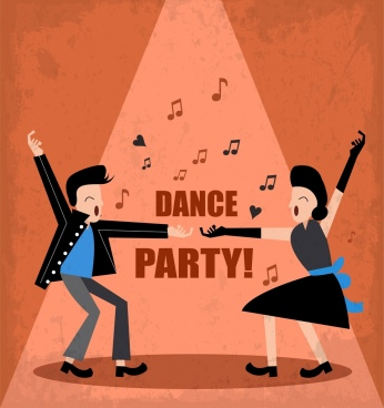 dance party banner dancer icons music notes decor