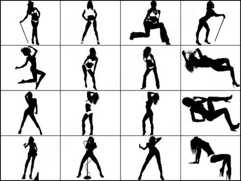dancer silhouettes brush