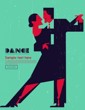 dancing background couple icon colored flat retro design