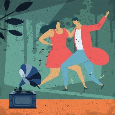 dancing background couple speaker icons retro grunge design