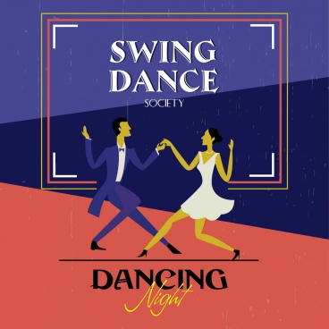dancing club advertisement colored dancers icons retro style