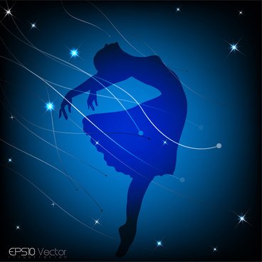 dancing girl silhouette background