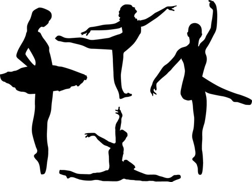 dancing girl silhouette vector