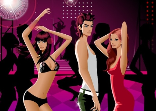 dancing men and women vector fashion