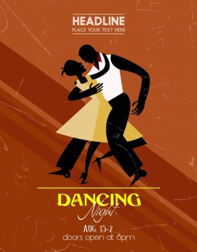 dancing party banner human silhouette retro decoration