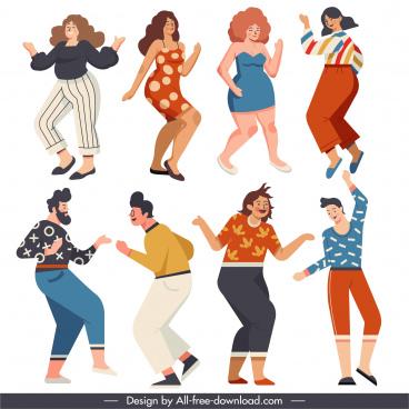 dancing people icon excited gestures sketch cartoon characters
