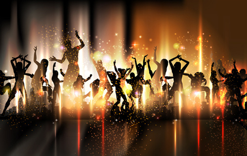 dancing people with party design vector set