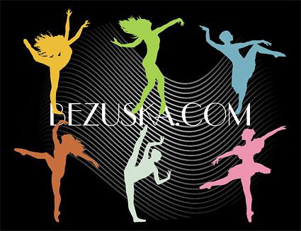 dancing silhouette peoples vector