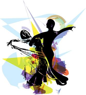 dancing watercolor drawn vector