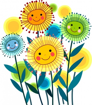 dandelion flowers drawing cute multicolored stylized icons