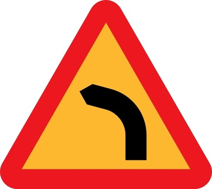 Dangerous Bend Bend To Left clip art