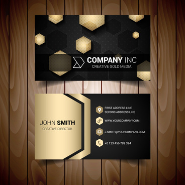 dark and gold hexagonal abstract business card