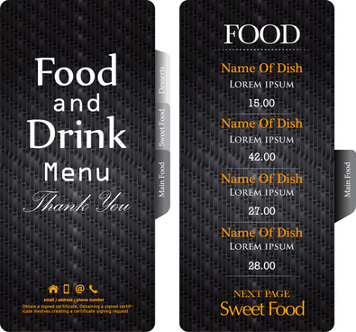 dark black restaurant menu template