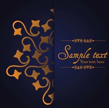 dark blue ornate background with golden decorative vector