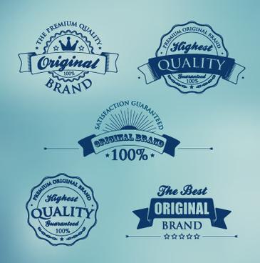 dark blue premium quality labels vector