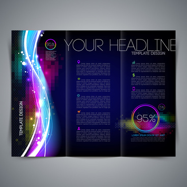 dark blue style brochure cover vector