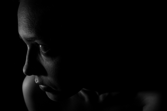 dark picture of woman face