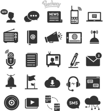 dark gray communication icons