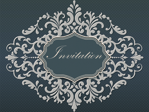 dark gray floral invitation cards vector