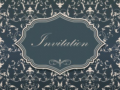 dark gray floral invitation cards vector