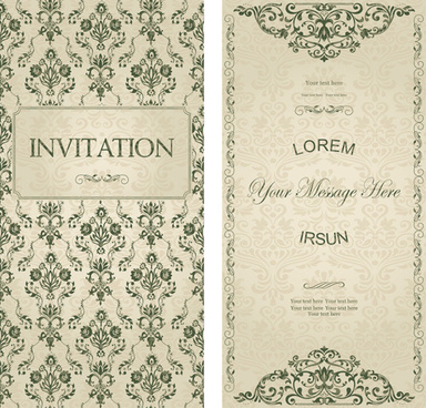 dark green floral vintage invitation cards vector
