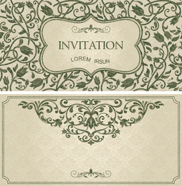 Vintage invitation card ai free vector download 61289 free vector dark green floral vintage invitation cards vector stopboris Choice Image