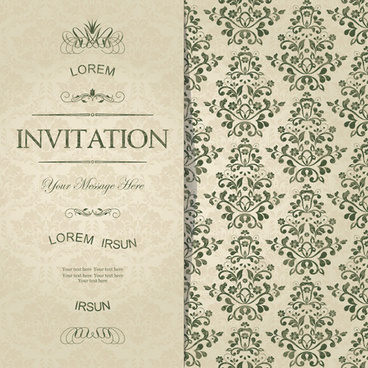 Vintage invitation card vector flower backgrounds free vector dark green floral vintage invitation cards vector stopboris Choice Image