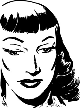 Dark Haired Woman With Bangs clip art