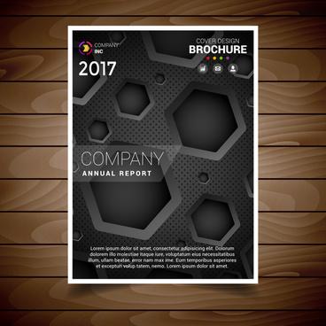 dark hexagonal hole brochure design template