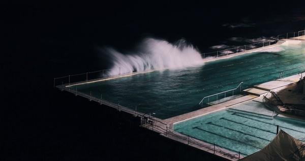 dark holiday line night ocean pool sea shore stair