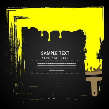 dark painting background yellow grunge decoration brush icon