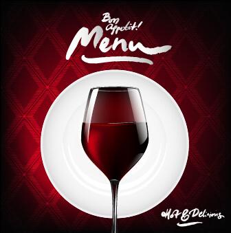 dark red wine menu background vector