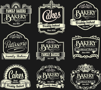 dark style coffee labels vector graphic set