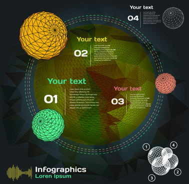 dark style infographic with diagrams vectors