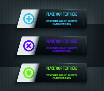dark style numbers banners vector