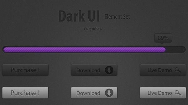 Dark UI Element Set