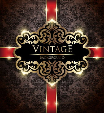 dark vintage floral vector background