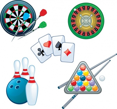 darts playing cards poker roulette vector