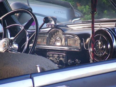 dashboard of old car