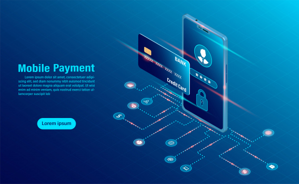 data protection concept online payment security transaction via credit card protect data finance and confidentiality with high security flat isometric illustration